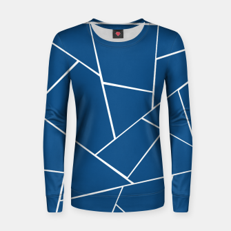 Classic Blue Geometric Glam #1 #geo #decor #art Frauen sweatshirt obraz miniatury