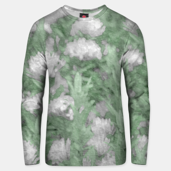 Miniatur Green and White Textured Botanical Motif Manipulated Photo Unisex sweater, Live Heroes