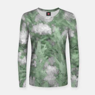 Miniatur Green and White Textured Botanical Motif Manipulated Photo Women sweater, Live Heroes