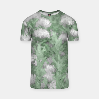 Miniaturka Green and White Textured Botanical Motif Manipulated Photo T-shirt, Live Heroes