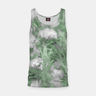 Miniatur Green and White Textured Botanical Motif Manipulated Photo Tank Top, Live Heroes