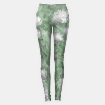 Miniatur Green and White Textured Botanical Motif Manipulated Photo Leggings, Live Heroes