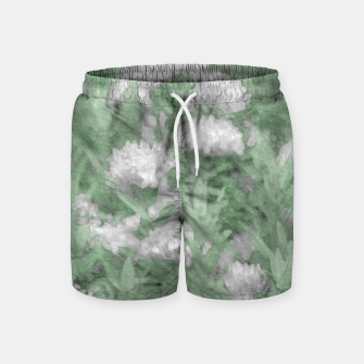 Miniatur Green and White Textured Botanical Motif Manipulated Photo Swim Shorts, Live Heroes