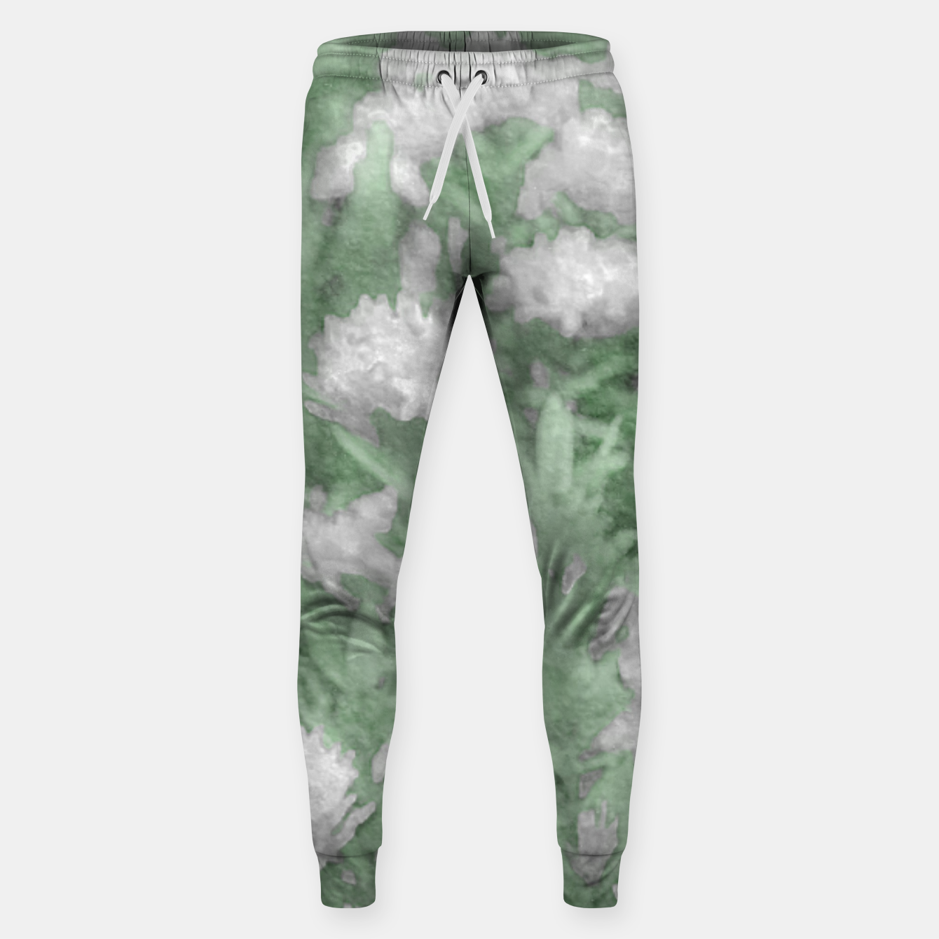 Image de Green and White Textured Botanical Motif Manipulated Photo Sweatpants - Live Heroes
