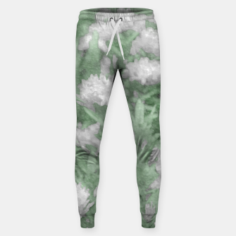 Miniatur Green and White Textured Botanical Motif Manipulated Photo Sweatpants, Live Heroes