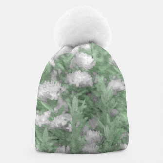 Miniatur Green and White Textured Botanical Motif Manipulated Photo Beanie, Live Heroes