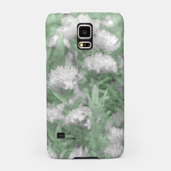 Miniatur Green and White Textured Botanical Motif Manipulated Photo Samsung Case, Live Heroes