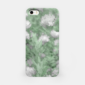Miniatur Green and White Textured Botanical Motif Manipulated Photo iPhone Case, Live Heroes
