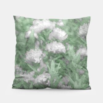 Miniatur Green and White Textured Botanical Motif Manipulated Photo Pillow, Live Heroes