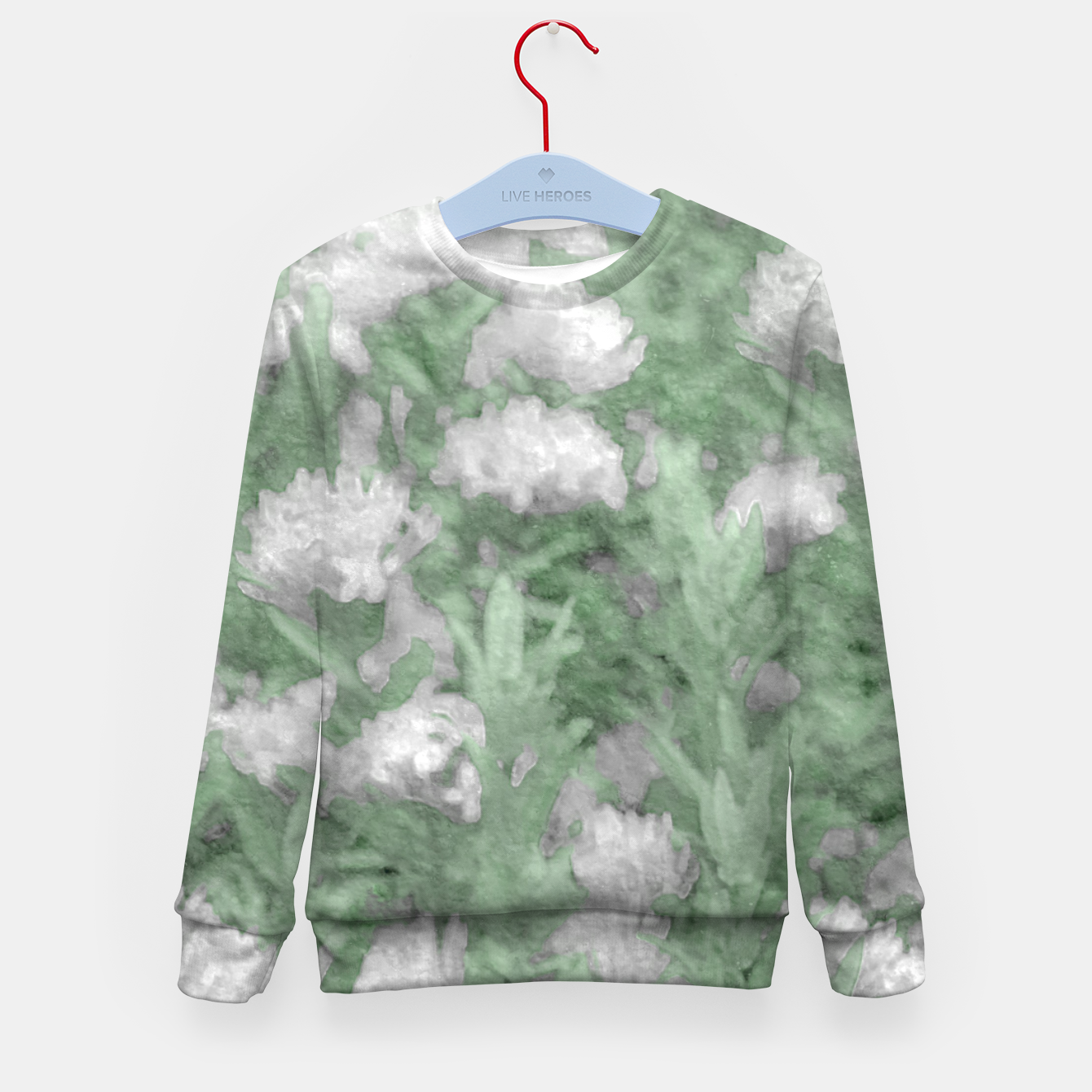 Foto Green and White Textured Botanical Motif Manipulated Photo Kid's sweater - Live Heroes
