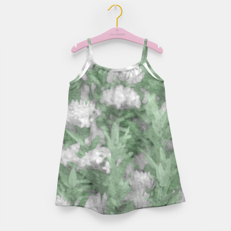 Miniatur Green and White Textured Botanical Motif Manipulated Photo Girl's dress, Live Heroes
