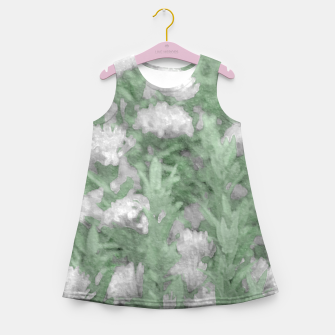 Miniatur Green and White Textured Botanical Motif Manipulated Photo Girl's summer dress, Live Heroes