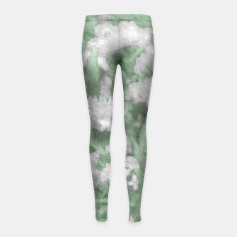 Miniatur Green and White Textured Botanical Motif Manipulated Photo Girl's leggings, Live Heroes