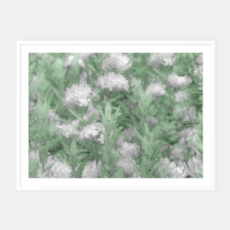 Miniatur Green and White Textured Botanical Motif Manipulated Photo Framed poster, Live Heroes