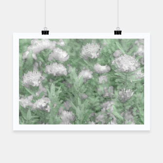 Miniatur Green and White Textured Botanical Motif Manipulated Photo Poster, Live Heroes