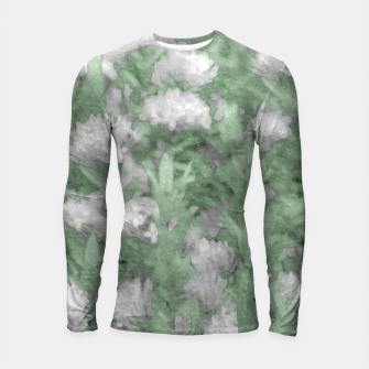Miniatur Green and White Textured Botanical Motif Manipulated Photo Longsleeve rashguard , Live Heroes