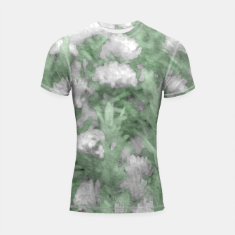 Miniaturka Green and White Textured Botanical Motif Manipulated Photo Shortsleeve rashguard, Live Heroes