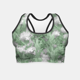 Miniatur Green and White Textured Botanical Motif Manipulated Photo Crop Top, Live Heroes