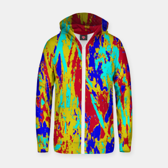 Multicolored Vibrant Abstract Textre Print Zip up hoodie Bild der Miniatur