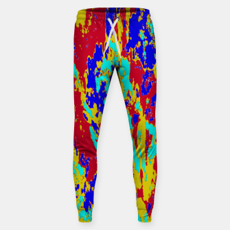Multicolored Vibrant Abstract Textre Print Sweatpants Bild der Miniatur