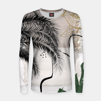 Thumbnail image of Banana Palms Hamsa Hand Abstract - Naturelle #1 #minimal #wall #decor #art Frauen sweatshirt, Live Heroes