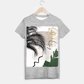 Miniaturka Banana Palms Hamsa Hand Abstract - Naturelle #1 #minimal #wall #decor #art T-Shirt regulär, Live Heroes
