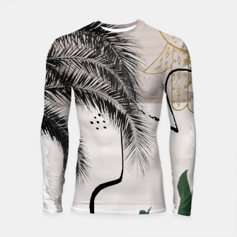 Thumbnail image of Banana Palms Hamsa Hand Abstract - Naturelle #1 #minimal #wall #decor #art Longsleeve rashguard, Live Heroes