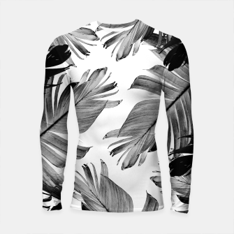 Thumbnail image of Tropical Banana Leaves Pattern #1 #tropical #decor #art  Longsleeve rashguard, Live Heroes