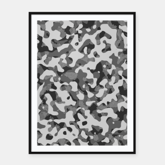 Miniatur Grey Pattern Camouflage & Mosaic Style Plakat mit rahmen, Live Heroes