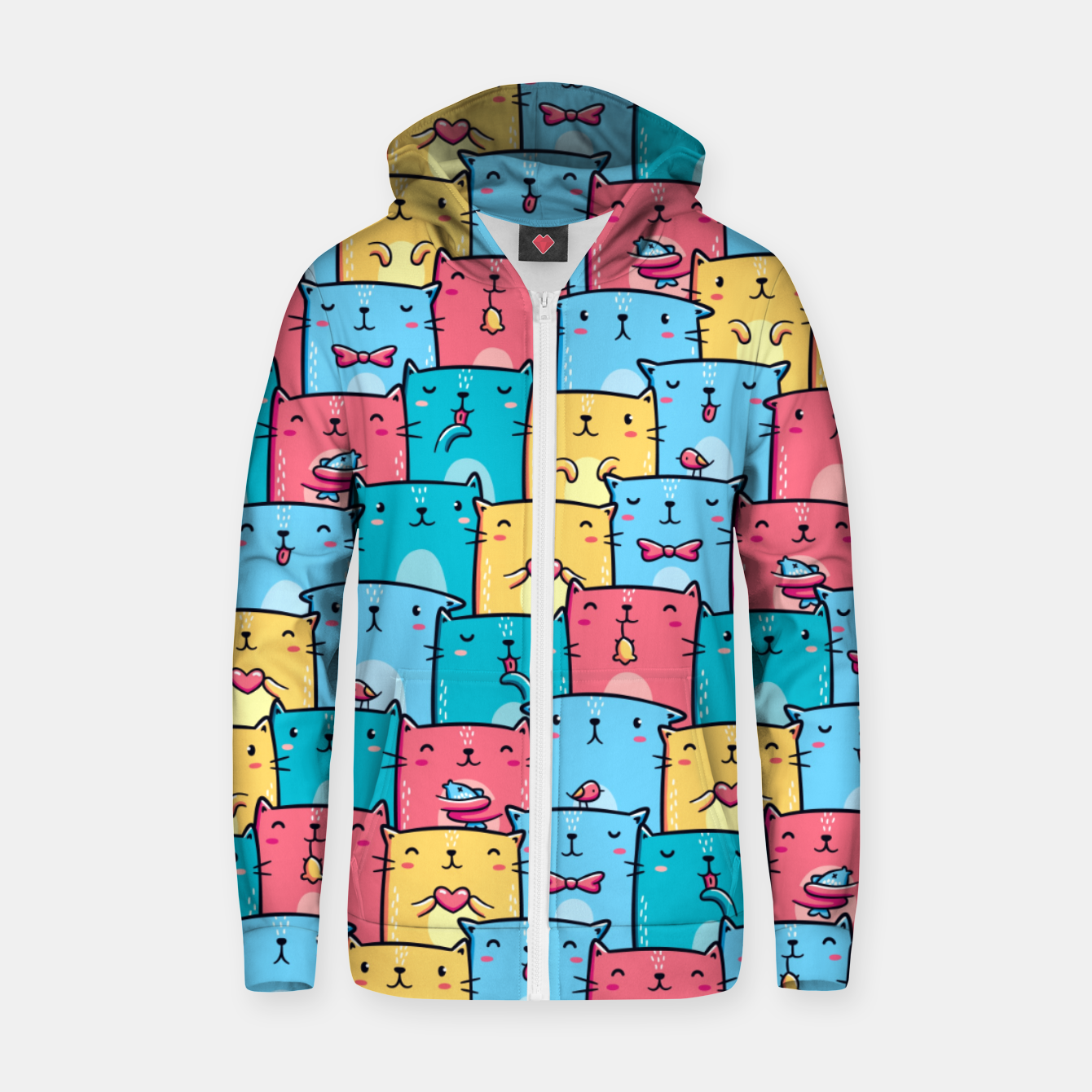 Image of Colorful Cats Zip up hoodie - Live Heroes