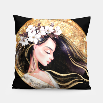 Thumbnail image of Beautiful brunette Pillow, Live Heroes