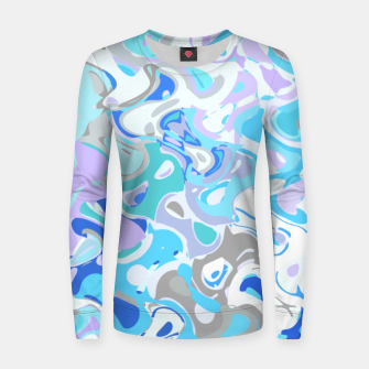 Imagen en miniatura de Baby blue mess, abstraction in fresh colors, winter theme Women sweater, Live Heroes
