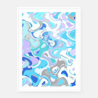 Imagen en miniatura de Baby blue mess, abstraction in fresh colors, winter theme Framed poster, Live Heroes