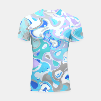 Imagen en miniatura de Baby blue mess, abstraction in fresh colors, winter theme Shortsleeve rashguard, Live Heroes