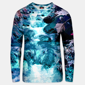 Thumbnail image of Magical mountain river, fairy colors, leaves, water, peaceful nature view Unisex sweater, Live Heroes