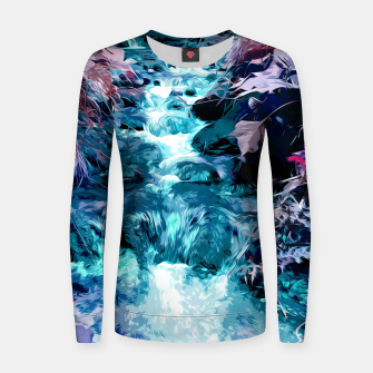 Thumbnail image of Magical mountain river, fairy colors, leaves, water, peaceful nature view Women sweater, Live Heroes