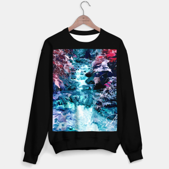Thumbnail image of Magical mountain river, fairy colors, leaves, water, peaceful nature view Sweater regular, Live Heroes