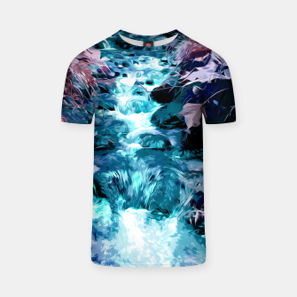 Thumbnail image of Magical mountain river, fairy colors, leaves, water, peaceful nature view T-shirt, Live Heroes