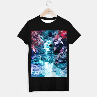 Thumbnail image of Magical mountain river, fairy colors, leaves, water, peaceful nature view T-shirt regular, Live Heroes