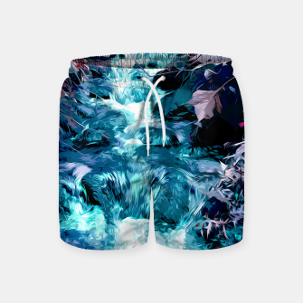 Thumbnail image of Magical mountain river, fairy colors, leaves, water, peaceful nature view Swim Shorts, Live Heroes