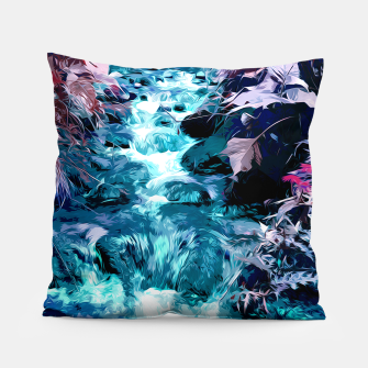 Thumbnail image of Magical mountain river, fairy colors, leaves, water, peaceful nature view Pillow, Live Heroes