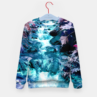 Thumbnail image of Magical mountain river, fairy colors, leaves, water, peaceful nature view Kid's sweater, Live Heroes