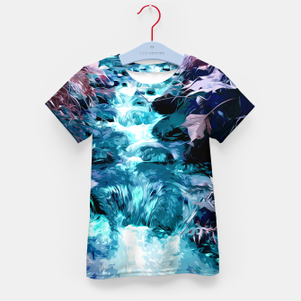 Thumbnail image of Magical mountain river, fairy colors, leaves, water, peaceful nature view Kid's t-shirt, Live Heroes