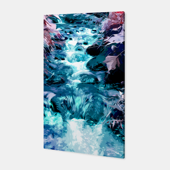 Thumbnail image of Magical mountain river, fairy colors, leaves, water, peaceful nature view Canvas, Live Heroes