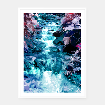 Thumbnail image of Magical mountain river, fairy colors, leaves, water, peaceful nature view Framed poster, Live Heroes