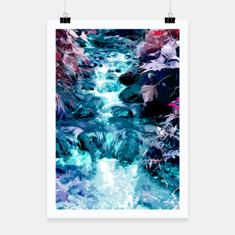 Thumbnail image of Magical mountain river, fairy colors, leaves, water, peaceful nature view Poster, Live Heroes
