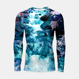 Thumbnail image of Magical mountain river, fairy colors, leaves, water, peaceful nature view Longsleeve rashguard , Live Heroes
