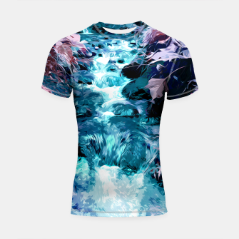 Thumbnail image of Magical mountain river, fairy colors, leaves, water, peaceful nature view Shortsleeve rashguard, Live Heroes