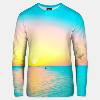 Miniature de image de Romantic summer sunset in blue and a sailing boat in the sea Unisex sweater, Live Heroes