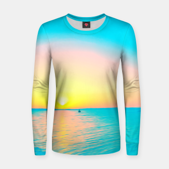 Miniature de image de Romantic summer sunset in blue and a sailing boat in the sea Women sweater, Live Heroes